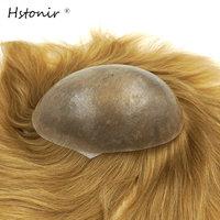 Hstonir Women's Short Hair Pieces Human European Remy Hair Wig Injection Pu Skin Toupet Top Piece Styles H076