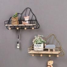 Metal Decorative wall shelf Wood and metal Storage box Sundries Prateleira key Rack wall Hook holder hanger Shelf for bathroom