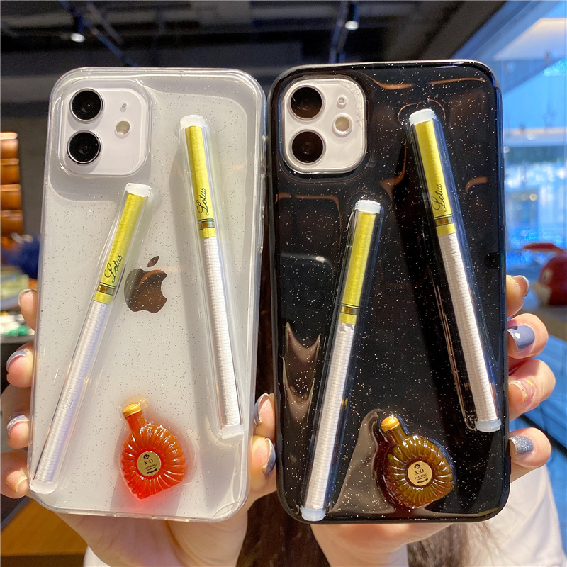 Cartoon 3D Cigarettes And Wine Bottles Cream Phone Case For Iphone12 Pro 11 Pro X XS MAX Xr 7 8 Plus Stereo Glitter Soft Cover