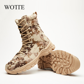 Outdoor Desert Military Camo Breathable Hiking Shoe Spring Autumn Men Hunting Climbing Leather Wearproof Tactical Training Boots 3