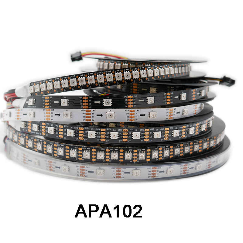 DC5V APA102 Data dan Jam Secara Terpisah Smart LED Pixel Strip; 1 M/3 M/5 M; 30/60/144 LED/Piksel/M; IP30/IP65/IP67