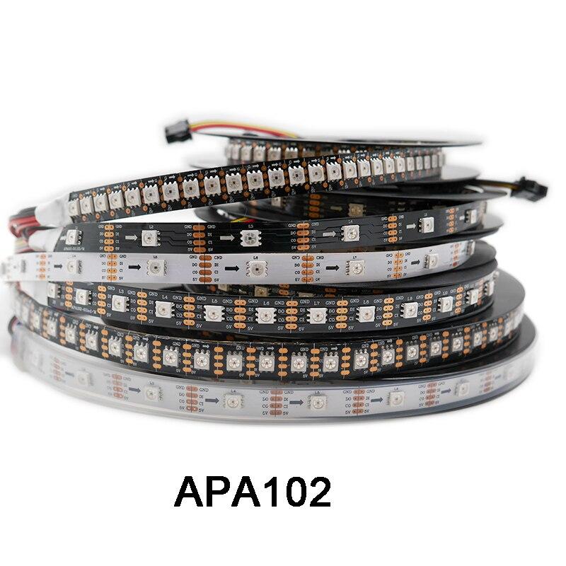 DC5V APA102 données et horloge séparément bande de pixels led intelligente; 1 m/3 m/5 m; 30/60/144 leds/pixels/m; IP30/IP65/IP67