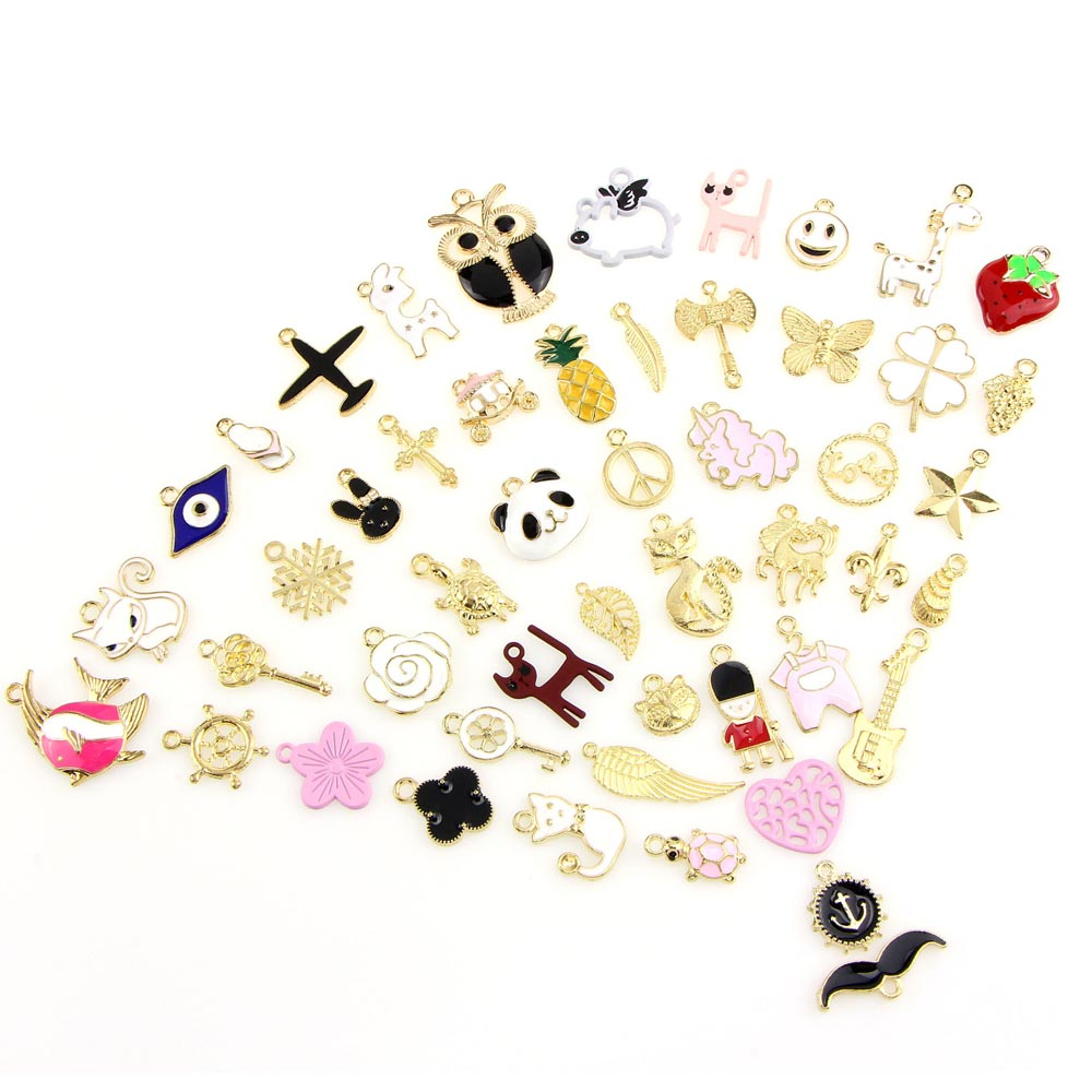 50PCS Colorful DIY Jewelry Making Charms Pendant For Necklace Bracelet Dangle Keychain Anklet Earring Handcrafts Random Style