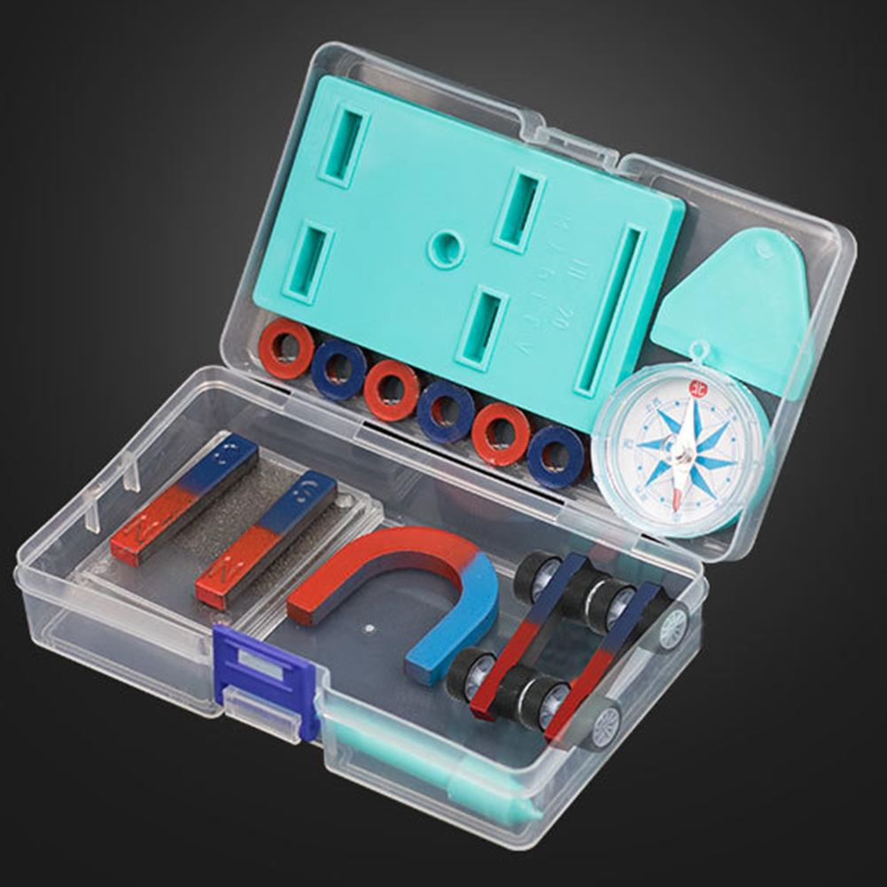 Kids Science Bar Ring Horseshoe Compass Magnet Car Kit Test Tools School Physical Experiment Teaching Aids Early Education Toys