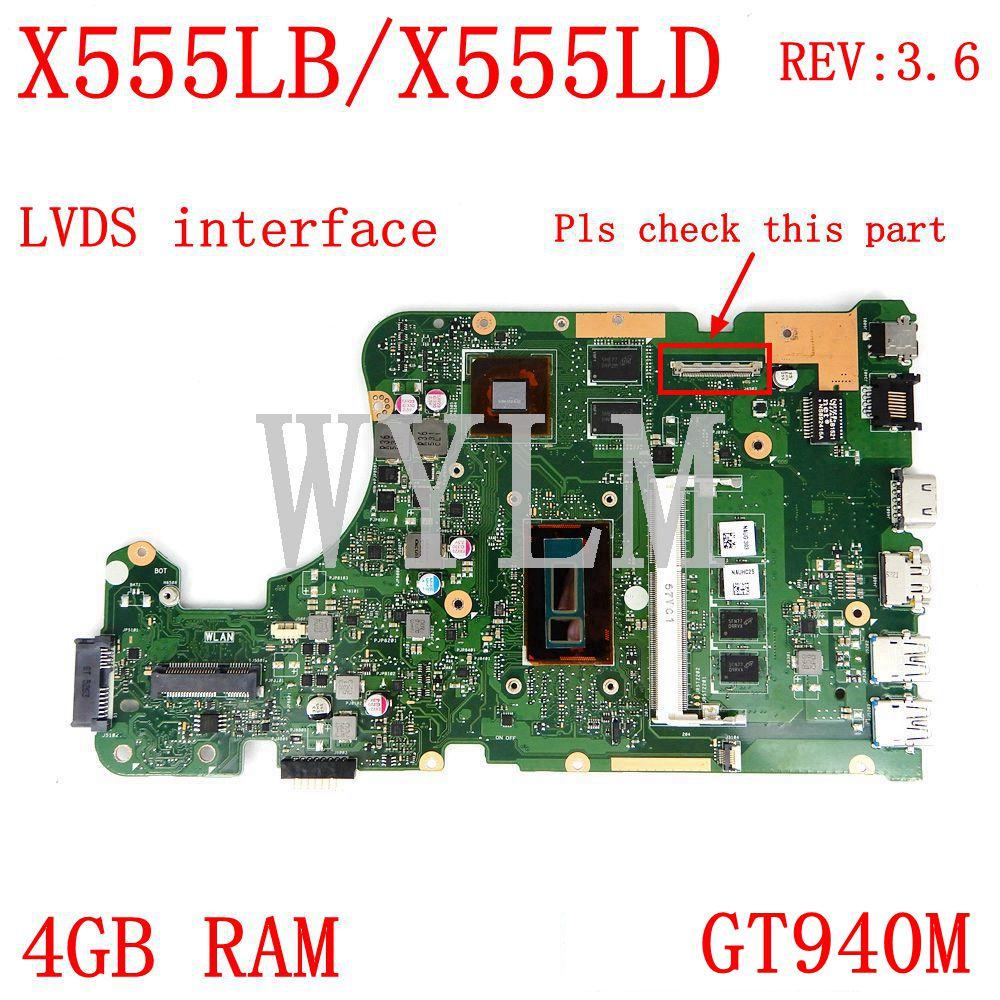 X555LB интерфейс LVDS 4G Оперативная память GT940M REV3.6 материнская плата для ноутбука ASUS X555LJ X555LD X555L A555L K555L F555L материнская плата для ноутбука тестиро...