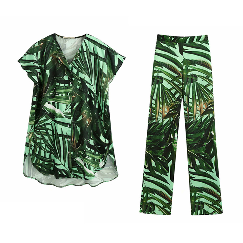 2020 Summer Women Print 2 Piece Sets Suits Fashion Loose Blouses Shirts Tops And Pants Female Casual Street Two Pieces Sets