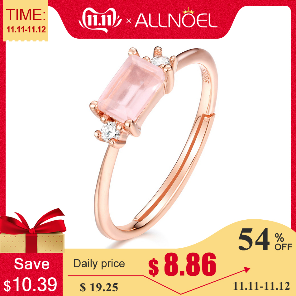 ALLNOEL 925 Silver Adjustable Rings For Women Natural  Rose Quartz Labradorite Gemstone Femme Engagement Ring Set Fine Jewelry