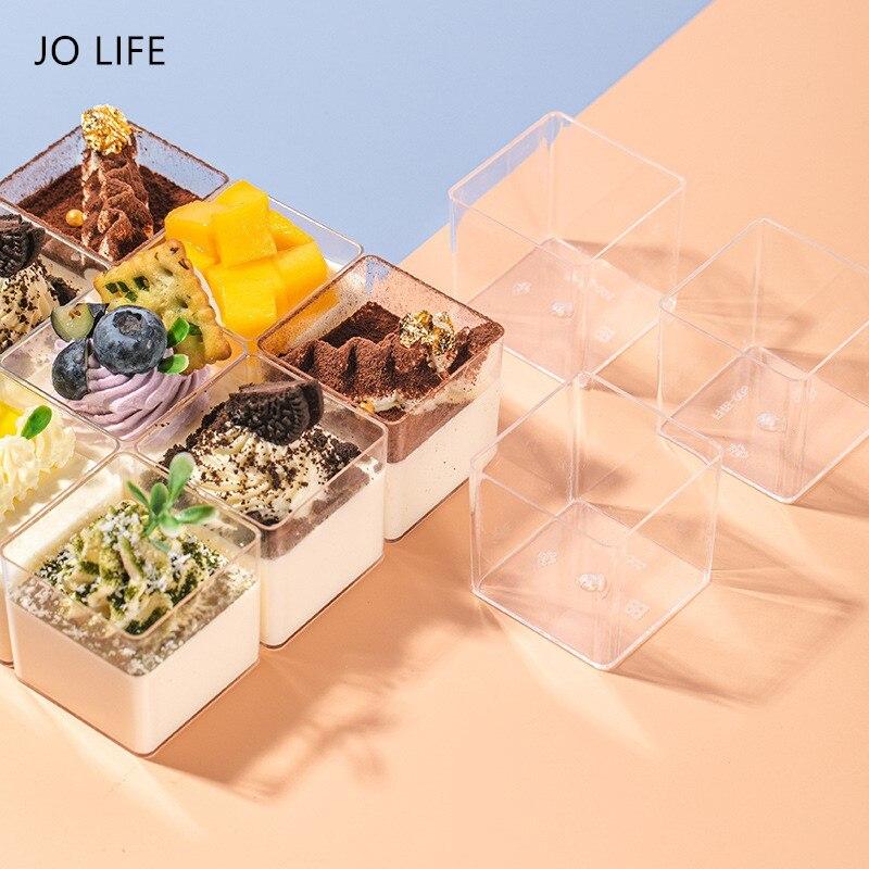 JO LIFE 18pcs/set Transparent Plastic Mousse Cup Cubic Yogurt Square Party Supplies Dessert Container Box Icecream Storage Cup
