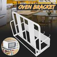 Anti rust Anti skid Wall mounted Oven Rack Space Aluminum Microwave Double layer Bracket With Hook Kitchen Rack Kitchen Storage