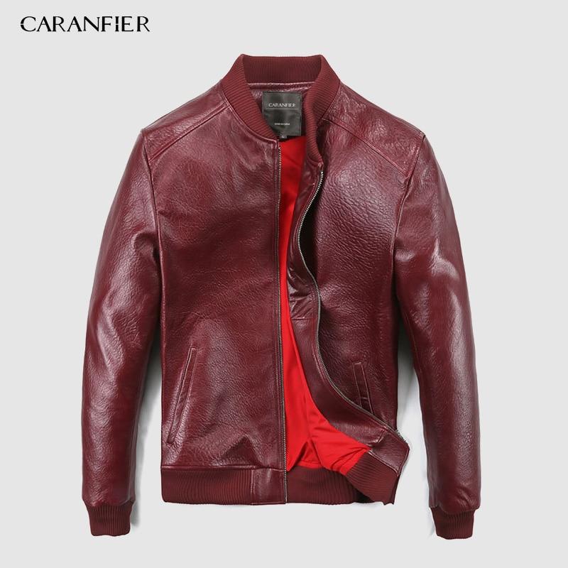 CARANFEIR 2019  Brand Vintage Genuine Leather Jacket  Mens 100% Sheepskin New Style Clothes Fashion Motor Biker Leather Jackets
