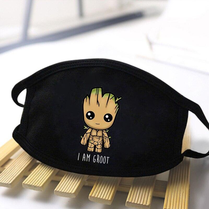 Cute Groot Marvel Cartoon Anime Masks Unisex Anti Dust Masks Fashion Warm Black Windproof Resuable Masks Breathable Respirator