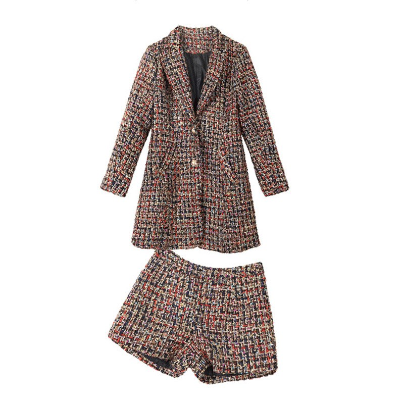 Casual Women's Plaid Business Suits Turn-Down Collar Female Career Two-Piece Sets Jacket And Long Sections Temperament Suits