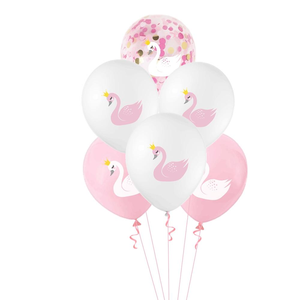 10 pçs branco rosa preto cisne impressão látex balão festa de aniversário decorações de casamento chá de fraldas tema da menina festa de bola suprimentos