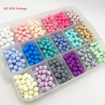 100pcs/lot 15mm Loose Beads Wholesale BPA Free Silicone Teething Beads For Necklace DIY Set Baby Teether