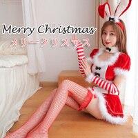 2019 New Women Christmas Cosplay Costumes Sexy rabbit Red Lingerie Adorable Hot Erotic Bunny Girl Velvet Bodysuit