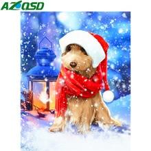 AZQSD Christmas Diamond Painting Dog Snow Cross Stitch Kits Full Square Picture Of Rhinestones Handmade Gift Wall Art Home Decor henry l novello passionate deification