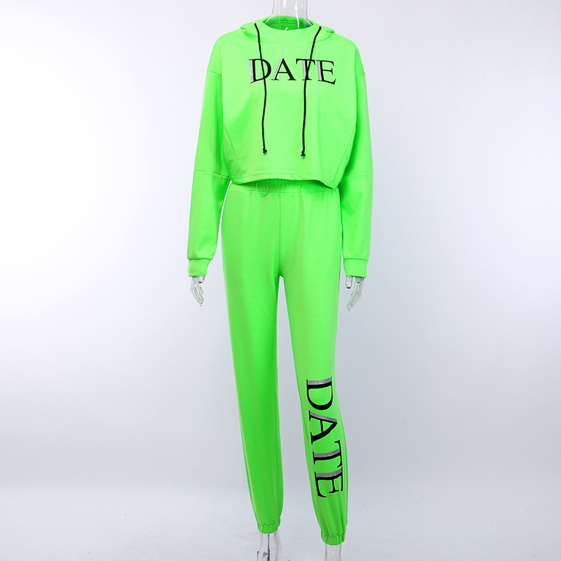Hb4622696f3534348a40830a212b76384V - OMSJ Autumn Neon Green Two Piece Set Women Lace Up Outfits Solid Orange Casual Suit Female Clothing Crop Top and Pants Tracksuit