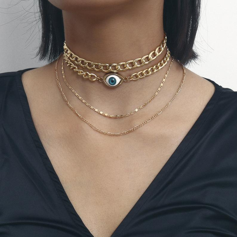 Eye Charm Pendant Choker Necklace for Women Gold Silver Color Clavicle Chains 2020 Fashion Jewelry Short Necklaces Female New