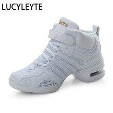 Drop-shipping esportes característica sola macia respiração sapatos de dança tênis para a prática da mulher sapatos modernos sapatos de dança jazz sapato alto