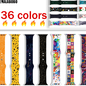 Silicone Breathable printing sport Band for Apple Watch 38/40/42/44mm Strap Bracelet bands for iWatch Series 5 4 3 2 Watchband soft silicone sport band for apple watch series 2 replacement strap for apple iwatch two colors sport band joyozyluxury bands