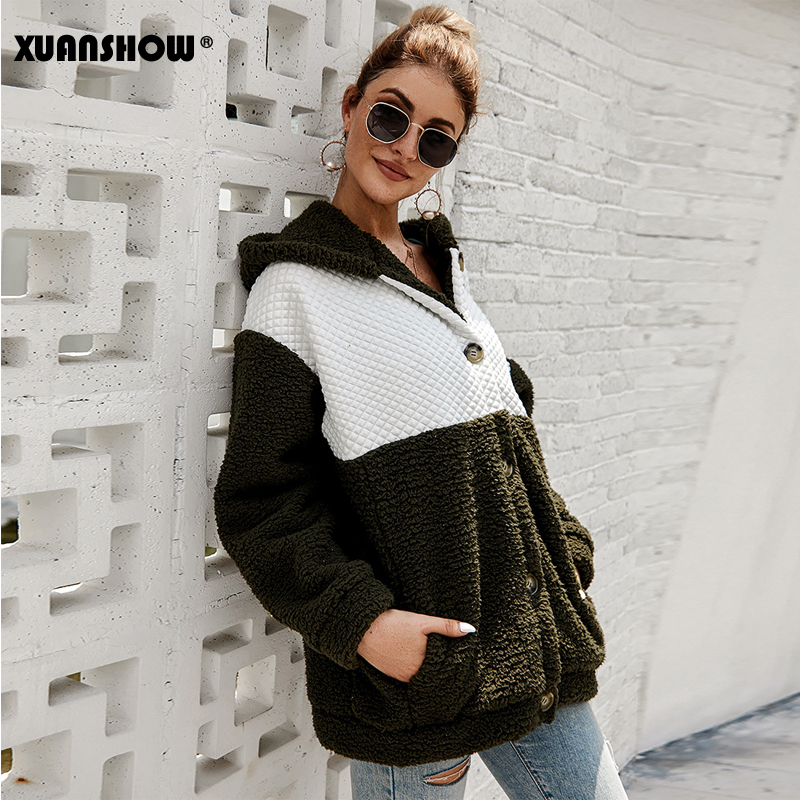 Image 3 - XUANSHOW 2019 Winter Women Coat Hooded Loose Fashion Long Sleeve 