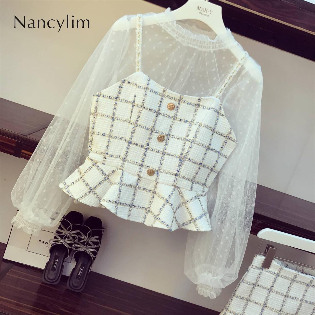 3 Piece Set Women Autumn New Mesh Shirt + Small Sling Jacket + Skirt Womens Tweed Sets Street Plaid Three-piece Set Girl Lady