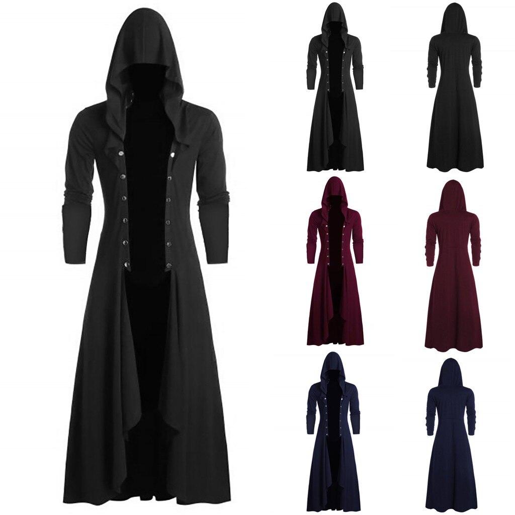 Hb462a5b14bcc412387efc7bb261f0a17r Men's Trench Retro Steam Punk Gothic Wind Cloak Coat Black Solid Casual Summer Plain Cap Cardigan Business Long Sleeve Coat Men