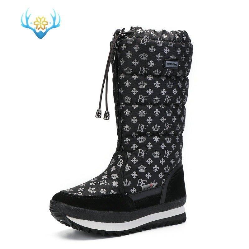 Femmes hiver mi-mollet bottes Top Pull sur imperméable en peluche neige chaussures flocon de neige imprimé épaissir chaud Zip à lacets 6Styles Plus Sz - 6