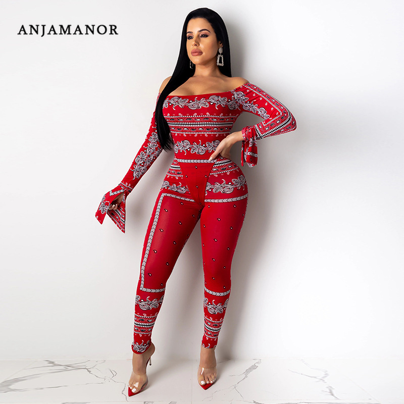ANJAMANOR Sexy 2 Piece Set Red Print Off Shoulder Long Sleeve Bodysuit And Leggings Bodycon Women Two Piece Club Outfits D37AD27