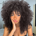 NNZES Short Afro Kinky Curly Synthetic Wigs Natural Looking Dark Brown Mixed Black Hair for Women High Temperature Fiber