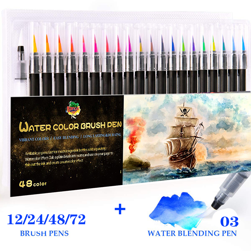 Professional Colors Markers Set Drawing Watercolor Brush Pens Sketching Student School Art Supplies