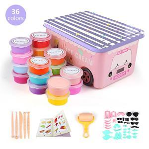 Комплект глины для высыхания воздуха для детей, 36 цветов, лепка для рукоделия, супер светильник, Набор пластилина и многое другое, инструмен...