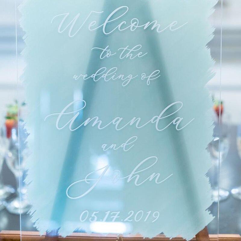 Painted Decor WeddingDisplay Acrylic Modern SignPersonalized Clear For Welcome Wedding Acrylic Sign Wedding Wedding SignClear