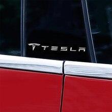 2 uds pilar del centro de la ventana etiqueta engomada del logotipo del coche etiqueta de la etiqueta engomada del Metal modificado decoración Exterior para Tesla modelo 3 X S X Accesorios