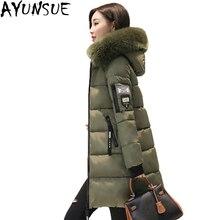 AYUNSUE, новая мода, хлопок, ватные куртки, женские парки, длинный, с капюшоном, тонкий, с хлопковой подкладкой, пальто, верхняя одежда, утолщенная, размера плюс, LX835