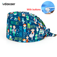 Personalized Dentist pattern Printing Scrub Cap lab Working Hat 100% Cotton Women Men Beautician Dust Proof Caps with Button