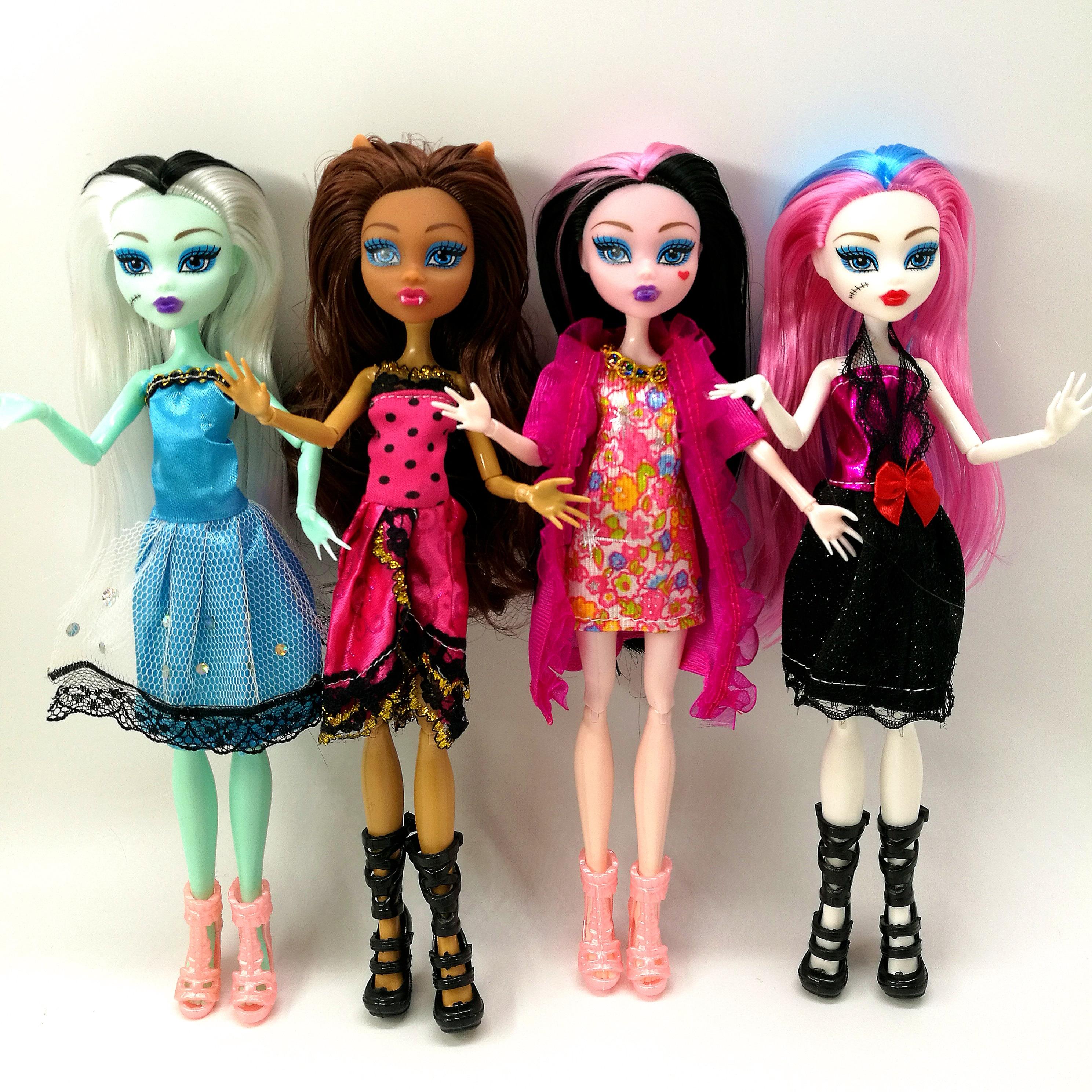 4 pièces/lot nouveau style monstre fun haute poupées monstre Draculaura haute Joint mobile, enfants meilleur cadeau poupées de mode en gros (lot de 4)
