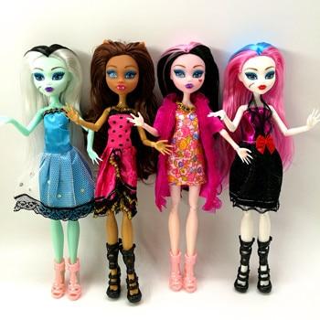 цены 4pcs/lot New style monster fun high Dolls Monster Draculaura hight Moveable Joint,children best gift Wholesale fashion dolls