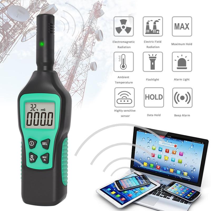 Digital Electromagnetic Field Radiation Detector Temperature Radiation Tester EMF Meter Dosimeter Detector For Computer Phone