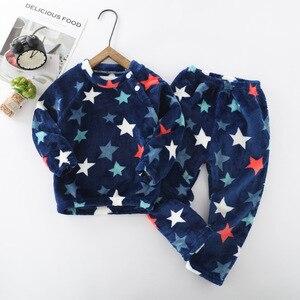 Image 4 - Winter Flannel Kids Pajamas Sets Child Warm Sleepwear Cartoon Animals Print Baby Girls Boys nightwear Children Pajamas For Girls