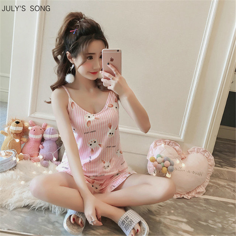 JULY'S SONG Round Neck Print Cartoon Top And Front Shorts Pajama Set 2019 New Woman Short Sleeve Casual Slings  Sleepwear