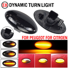 2Pcs Led แบบไดนามิกด้านข้างไฟเลี้ยวไฟสัญญาณ Sequential Blinker Amber Indicator สำหรับ Toyota Aygo Fiat Scudo สำหรับ peugeot