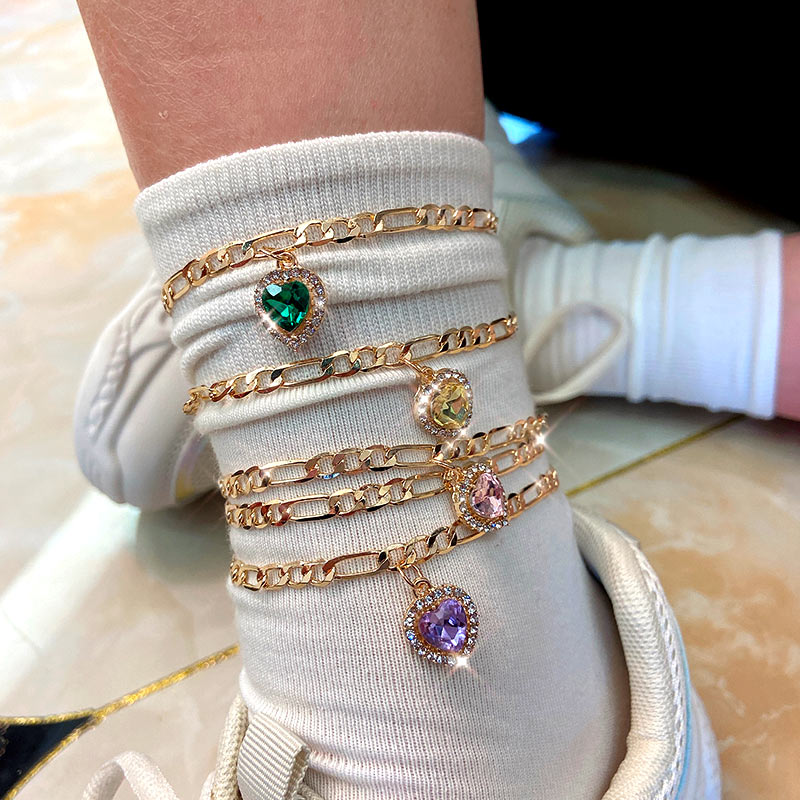 JUST FEEL 2Pcs/Set Fashion Heart Crystal Anklets Bracelets For Women Gold Color Chain Charm Anklet Summer Beach Foot Jewelry
