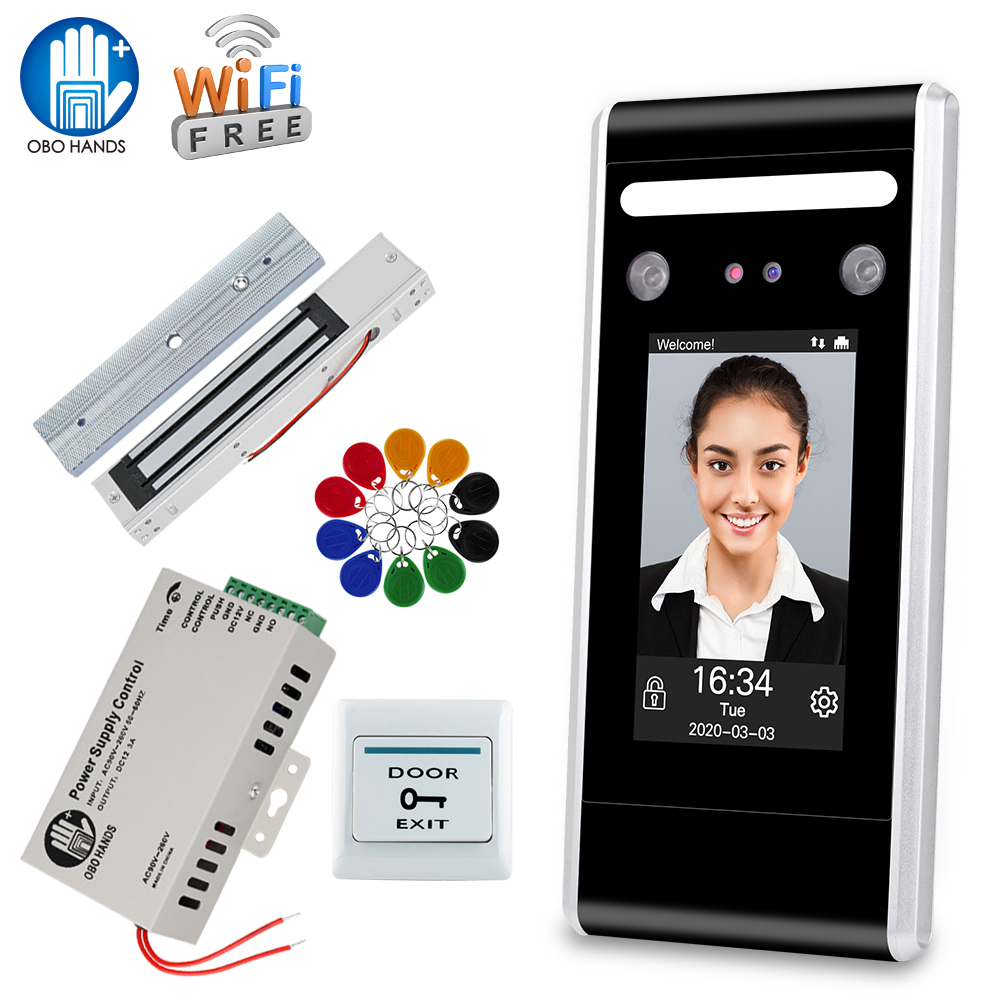 Wifi TCP/IP Door Access Control System Biometric Face Password RFID Keypad with Software + Electric Locks Strike Magnetic Lock