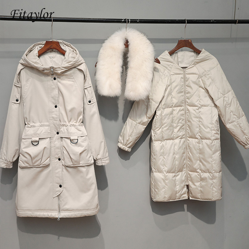 Large Raccoon Fur Collar Down Coat Winter Jacket 90% White Duck Down Hooded Warm Parkas Detachable Lining Overcoat