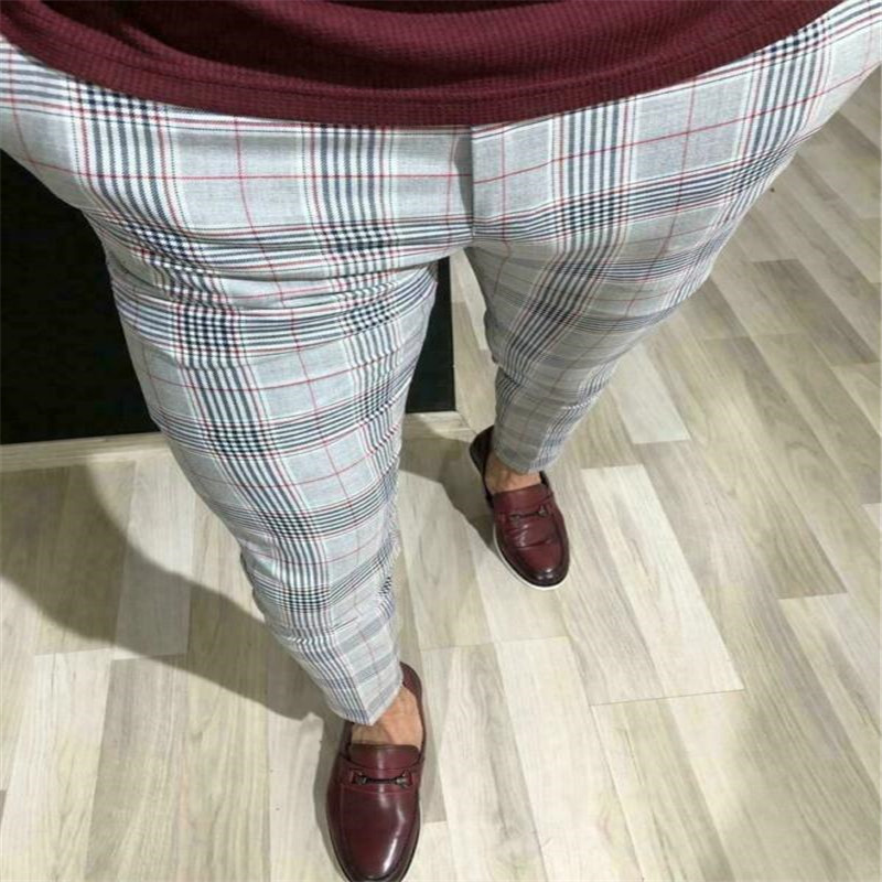 Hot Fashion Plus Size 3XL Men Casual Slim Fit Skinny Business Formal Suit Dress Pants Plaid Slacks Trousers New Drop Shipping