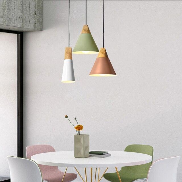 Фото nordic led e27 алюминиевые деревянные подвесные светильники цена