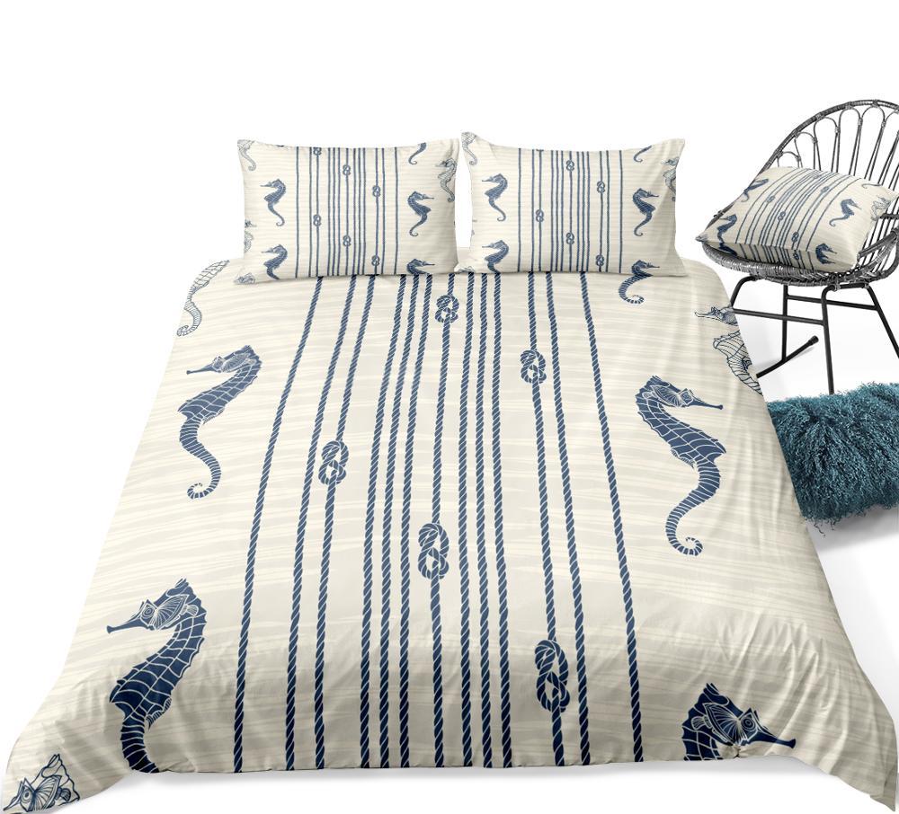Seahorse Bedding Set Ocean Life Bed Linen Kid Girl Boy Duvet Cover Set Grey White Home