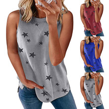 Womens Tank Tops Stars Print O-neck Summer Casual Sleeveless Loose Summer Clothes For Women Haut Femme Top Mujer Roupas Feminina