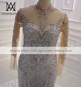 Image 3 - Vestido boda عالية الرقبة كم طويل كريستال حورية البحر فستان بأكمام طويلة